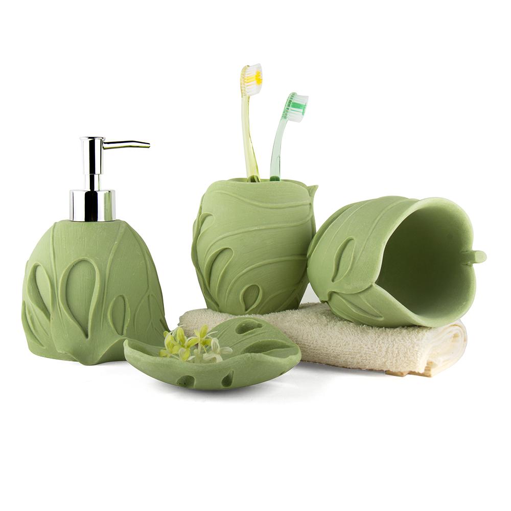 Unique sandstone bathroom set 4 pieces bath set wash cup Soap lotion dispenser set