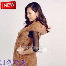 Women's medium-long fur rabbit fur vest outerwear fox fur wool black hooded sweet bag