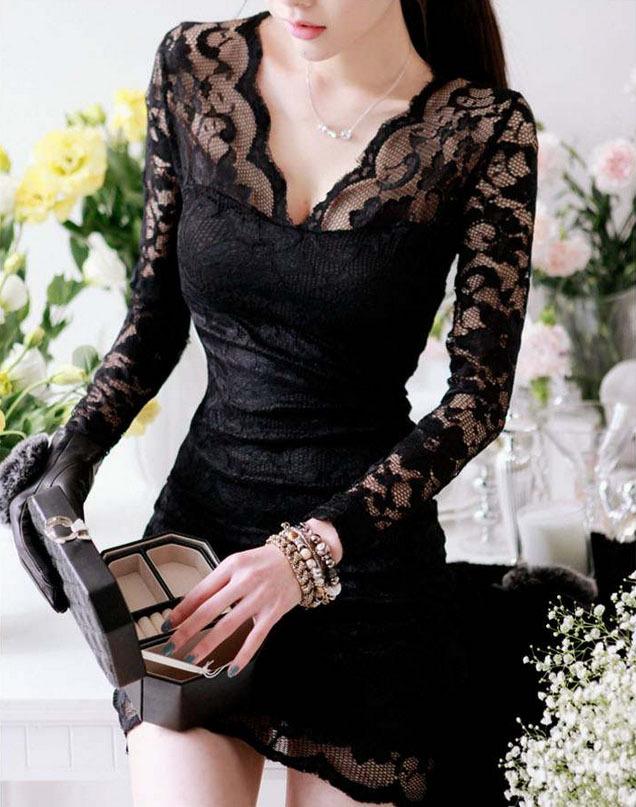 New Fashion V-neck Long Sleeve Lace Bodycon Dress Sexy Little Black Dress Clubwear White Above Knee Dress Free Shipping(China (Mainland))