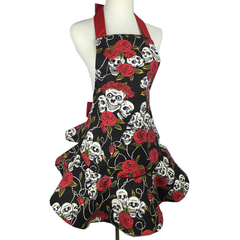 XiuMood Cotton Canvas Apron Printing Skulls Roses Red and Black, Pretty Party Hostess, Unique Gift(China (Mainland))