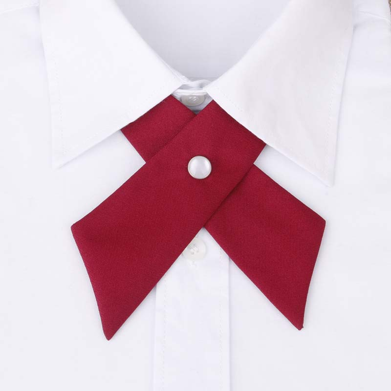 2016 Unisex Cross Collar Tie for Men Formal Casual Solid Color Wedding Party Button Bowknot Women Bow Ties Brand Cravat Neck Tie(China (Mainland))