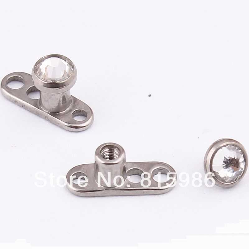 Free Shipping  10pcs body jewelry three hollow  titanium dermal anchor piercing for sale<br><br>Aliexpress