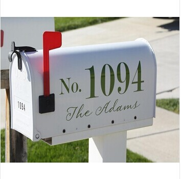free shipping personalized House Number And Last Name For Mailbox (2 - one for each side of mailbox)wall stickers wall decal(China (Mainland))