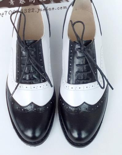 Wholesale Four Seasons Hot Genuine Leather Black+White Sapato Women Oxford Shoes Leisure Derby ...