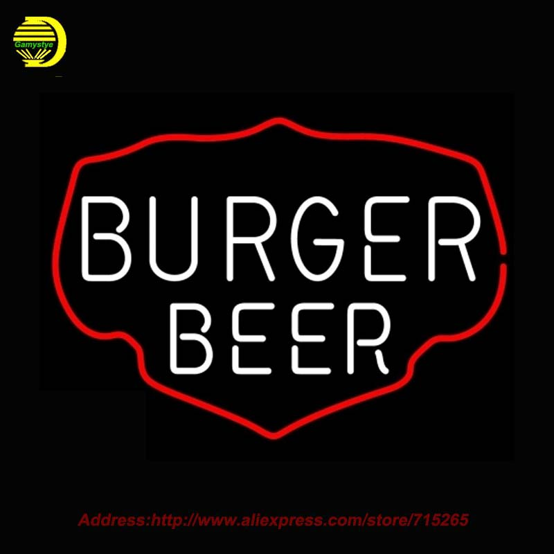 Burger Beer Neon Sign Neon Bulbs Sign Glass Tube Lamp Handcrafted Decorate Garage Advertise Neon Lichtbak Arcade Signs 17x14(China (Mainland))