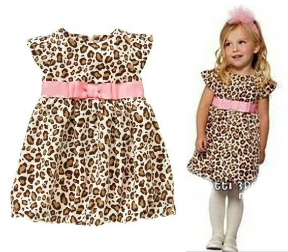 Children Tutu Dress leopard A-line print Mini casual Cotton children Girl dresses for 2-6 years(China (Mainland))