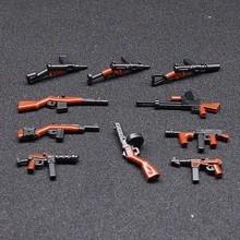 10 шт. Moc WW2 армии Военная Униформа оружие Пистолеты Мини Строительные блоки Кирпич цифры Совместимо legoes игрушки для детей(China)