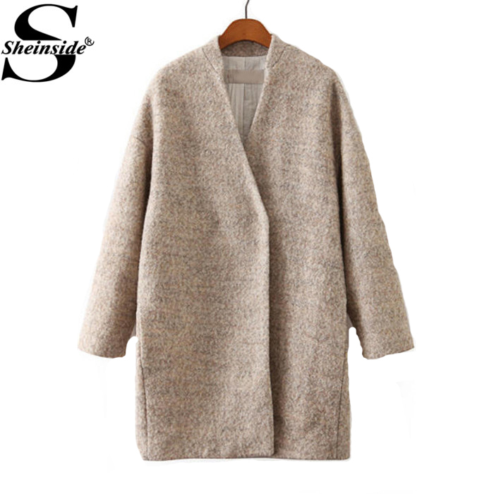 Sheinside 2015 Autumn/Winter Women's Outerwear Fashion Apricot Long Sleeve Loose Woolen Grey Coat(China (Mainland))