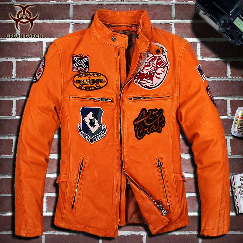 United States Air Force flight suit leather sheep skin motorcycle jacket coat yellow black pilot leather jacket(China (Mainland))