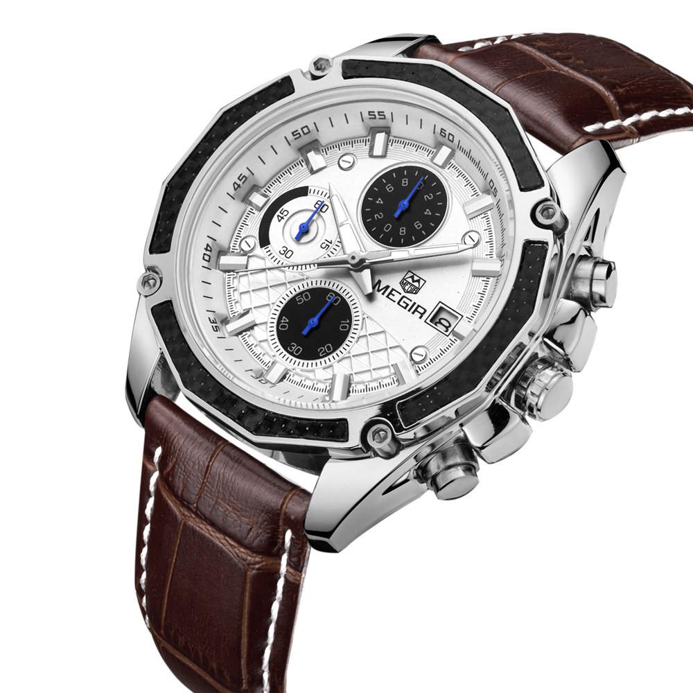 2016 Новый Восхождение MEGIR Хронограф мужские Часы Моды Случайные световой выгравированы наручные часы мужские часы класса люкс