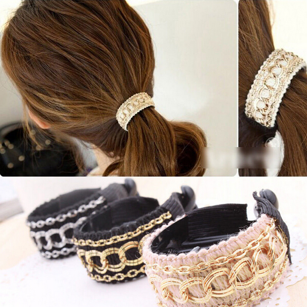 New Fashion Luxury Cute Women Gold Chain Hair Clip Hair Barrette Ponytail Holder Solid Black Pink NA562(China (Mainland))
