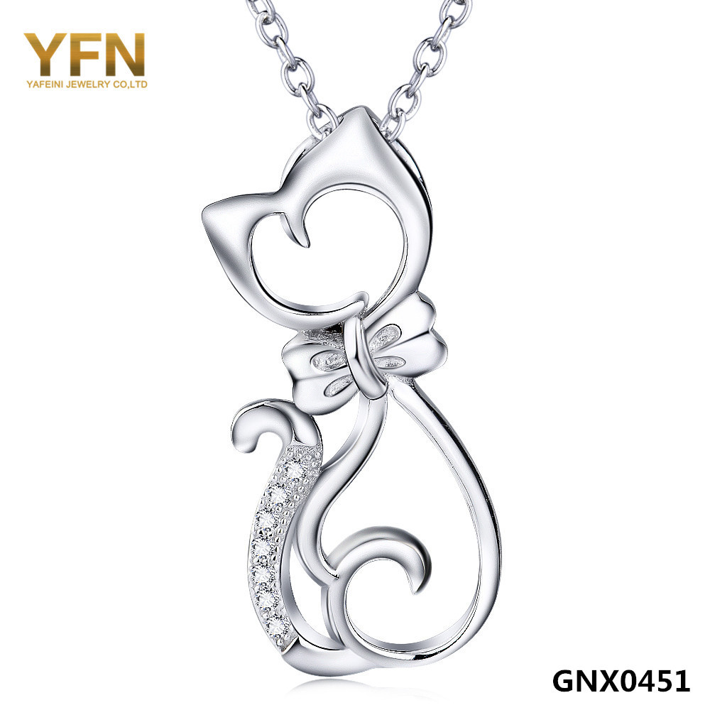 100% Real Pure 925 Sterling Silver Jewelry CZ Crystal Cat Pendant Necklace Top Quality 925 Silver Necklace For Women GNX0451(China (Mainland))