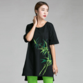 2016China style short in front long bamboo Hand paint big size clothing Summer cotton long T