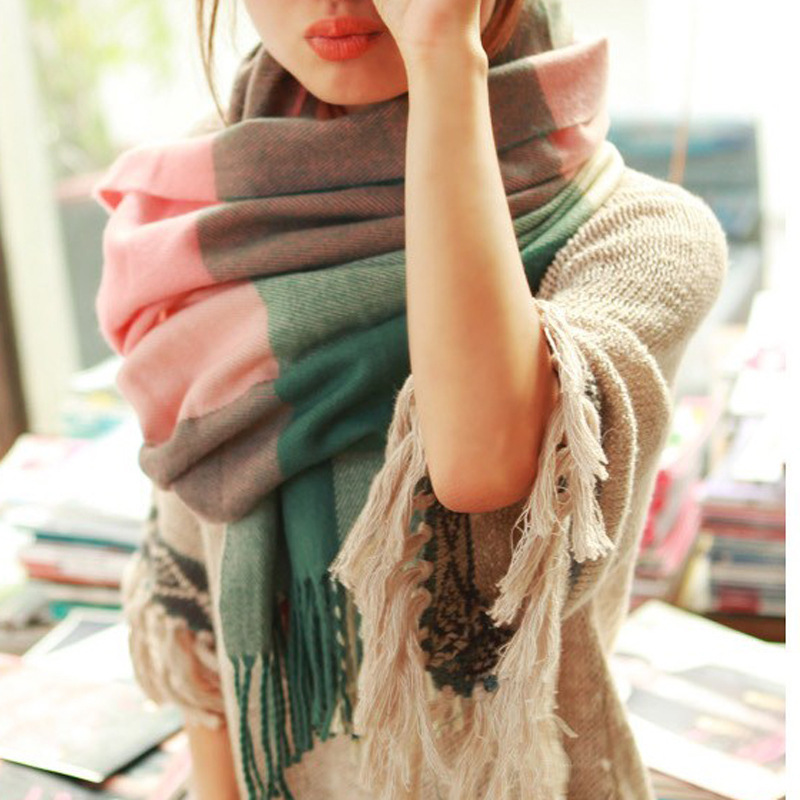 New winter Cool Thickening Casual Plaid Scarf autumn Women Shawl Scarf Warm Female Cashmere Pashmina cachecol