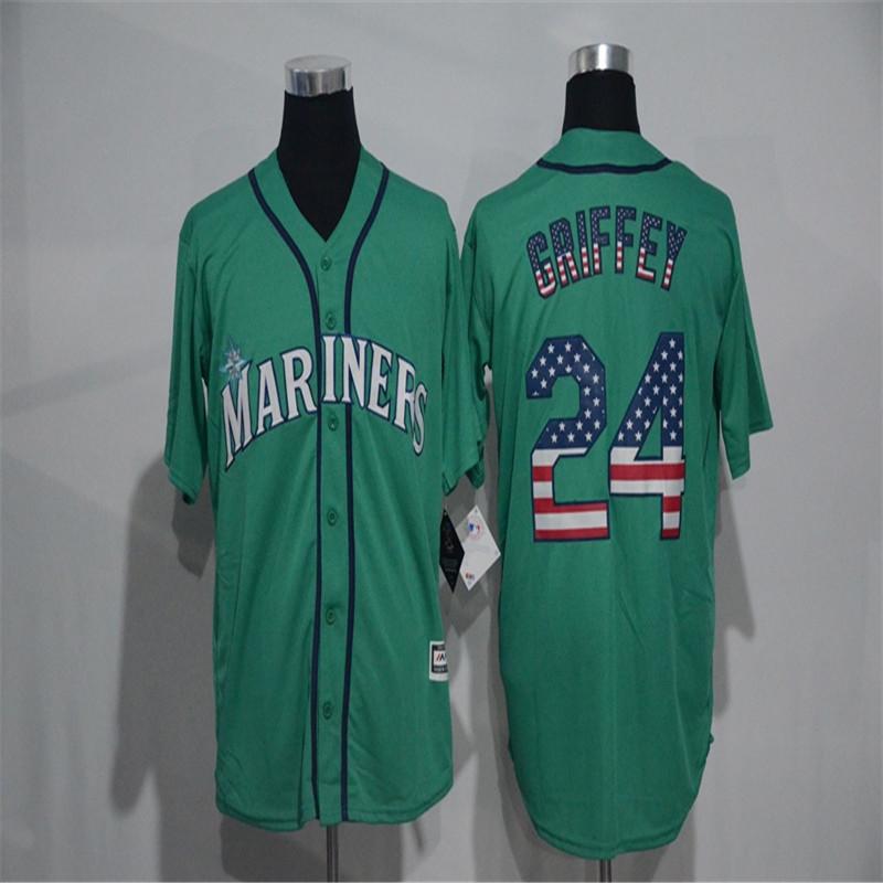 Mens Fashion Flag Ver. #24 Ken Griffey Jr throwback Jerseys Color Green Baseball jersey(China (Mainland))