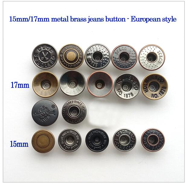 100sets 15mm/17mm metal brass jeans shank buttons European style jeans buttons mixed style free shipping 2015122901(China (Mainland))