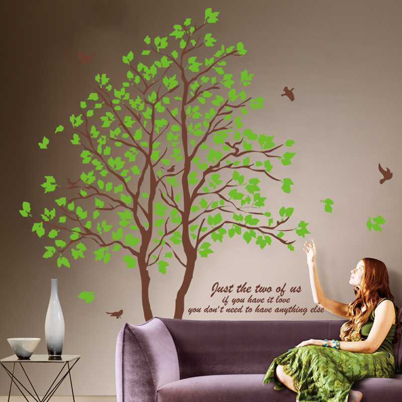 DIY large size green tree vinyl wall stickers home decor living room bedroom wallpaper murals family tree wall decal(China (Mainland))