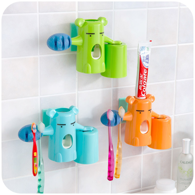Automatic toothpaste dispenser kids bear baby toothbrush for Colorful bathroom accessories