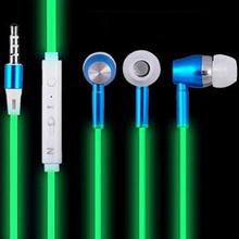 2017 Luminous Headphones Sport Glow in Dark Earphones With Microphone for iphone 5 5S 6 6S Samsung Night Light Glowing Headset(China (Mainland))