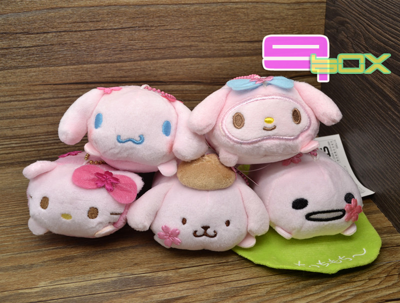 2015 TSUM Sakura Mame Petit Plush SANRIO Japan set Kitty Melody Gudetama phone Cleaner Cute Tsum Collection Toys Dolls