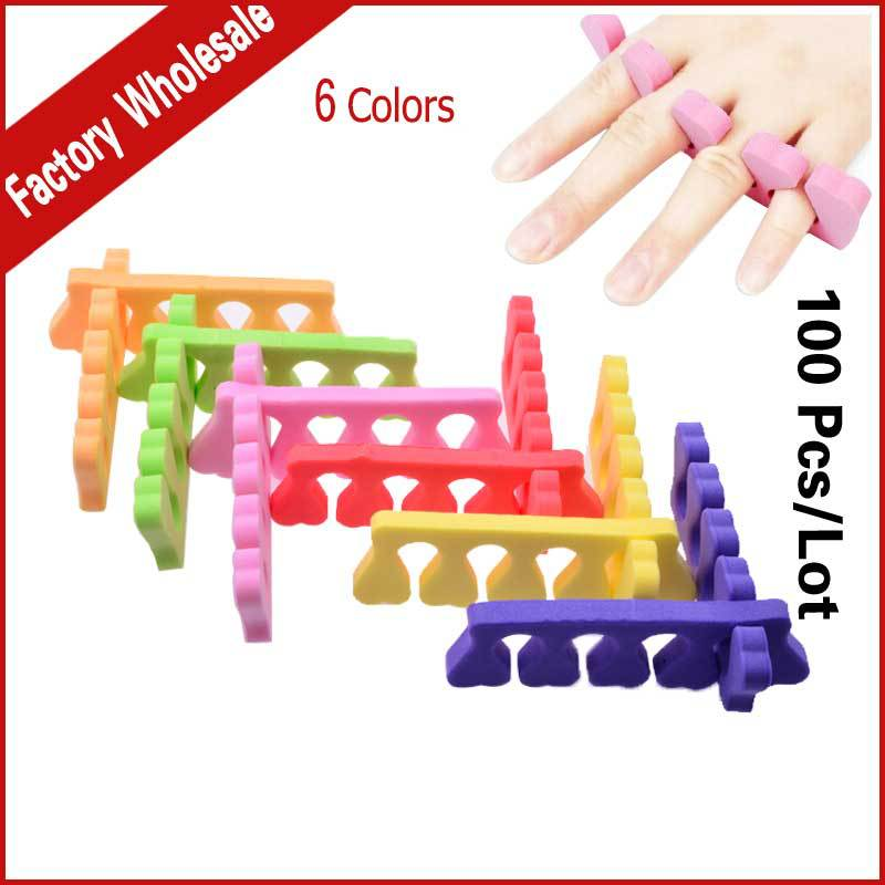 100pcs(50pairs) EVA Soft Foam Foot Toe Separator 6colors Manicure Finger Nail Art Tools Pedicure Feet Care Braces&Support(China (Mainland))
