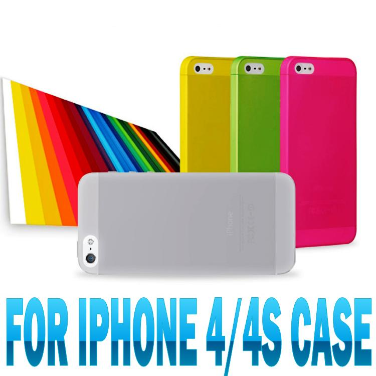 hot sale 0.3mm ultrathin pp case for iphone 4 4s back cover case matte half transparent fashion phone case 10 colors(China (Mainland))
