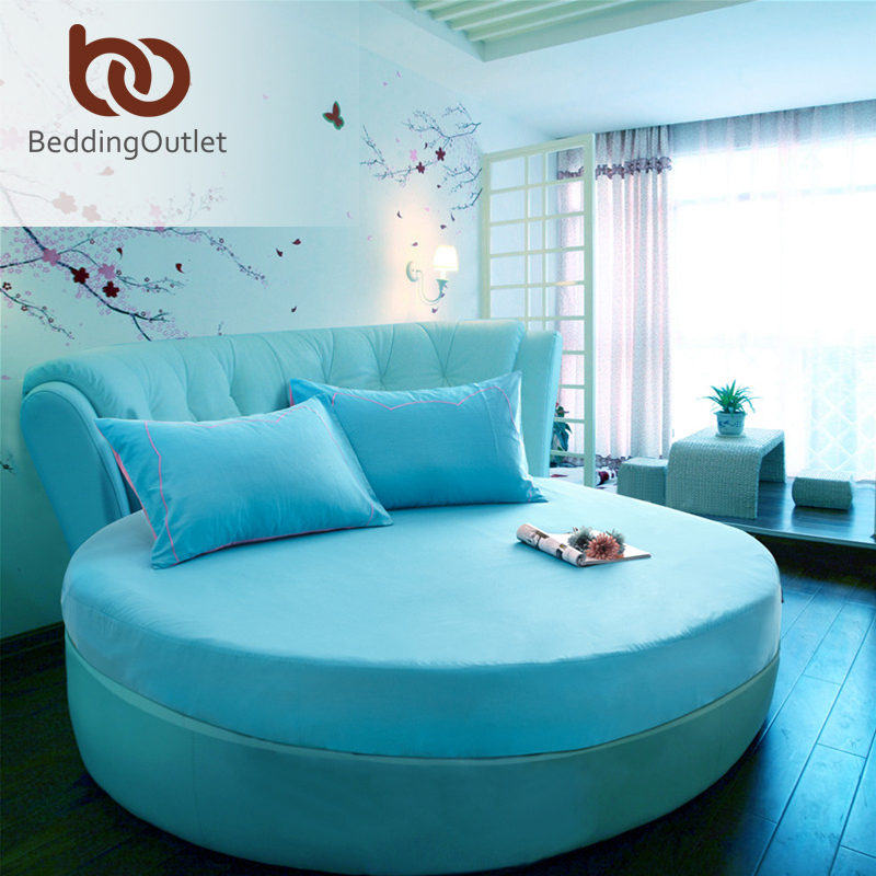 Panic Buying Round Fitted Sheet Turquoise Dust Proof Bed Linen Simple Nice Visual Enjoyment Bedding Set 1Pc 2 Size(China (Mainland))
