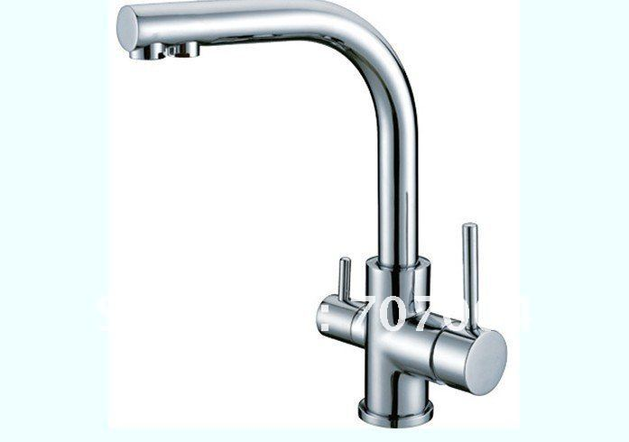 Luxury Double Handles Kitchen Faucet Hot And Cold Mixer Tap Pure Water Filter Chrome Finish-in