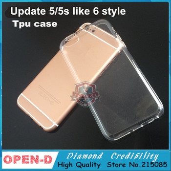 hot !! 2pcs/lot ,TPU Back protect case For iPhone 5 5s Colorful update long volume button housing cover like iPhone 6s 6 mini