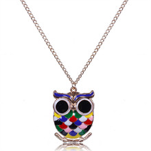 2016 new fashion statement necklace lovely color owl gem eye pendants jewelry alloy chain maxi necklaces women accessories
