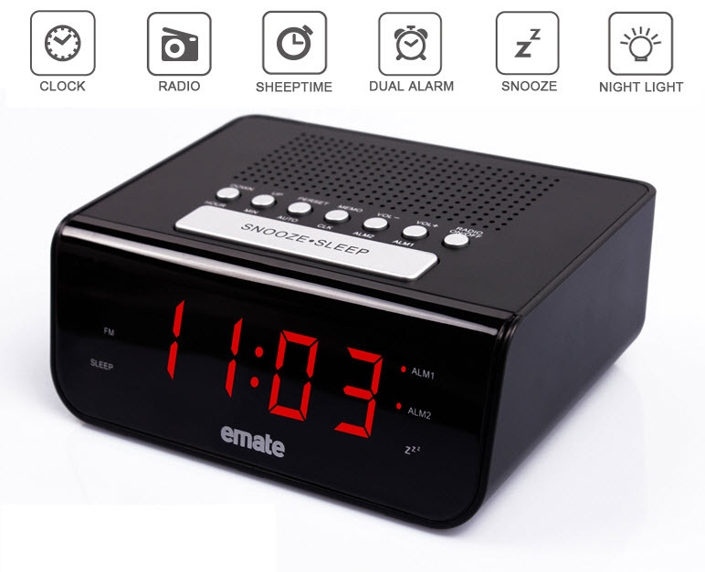 original high quality emate led digital fm radio dual alarm clock multi function alarm clock. Black Bedroom Furniture Sets. Home Design Ideas