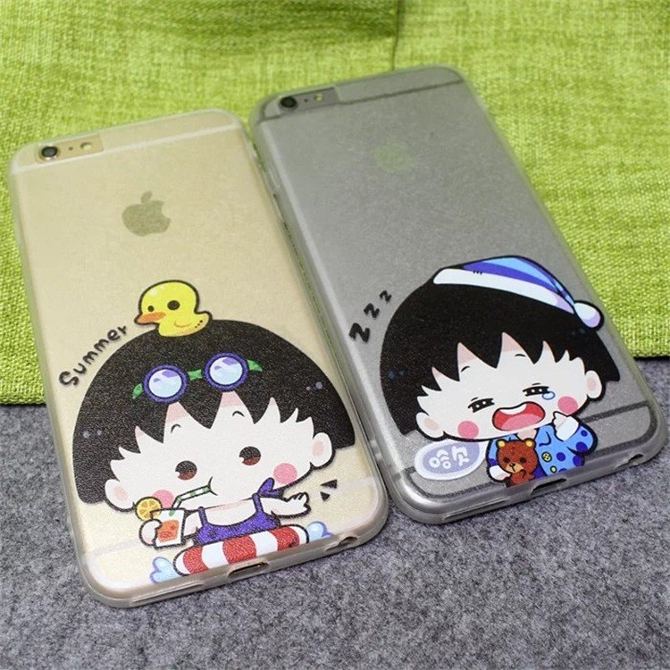 Chi-bi Maruko cartoon silk hard pc back phone case lover couple cover for apple iphone 6 6s 4.7″/6plus 6splus 5.5″ coque shell