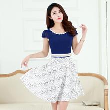 Autumn Winter Hot Women Fashion Lace Casual Dress Half Sleeve Elegant One-piece Dress Woman With Belts High Street