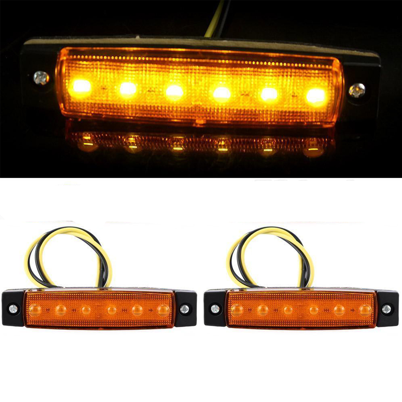 2016 New 2pcs 12V Side Marker Indicators Lights 6 LED Yellow Color For Truck Bus Trailer Free Shipping(China (Mainland))