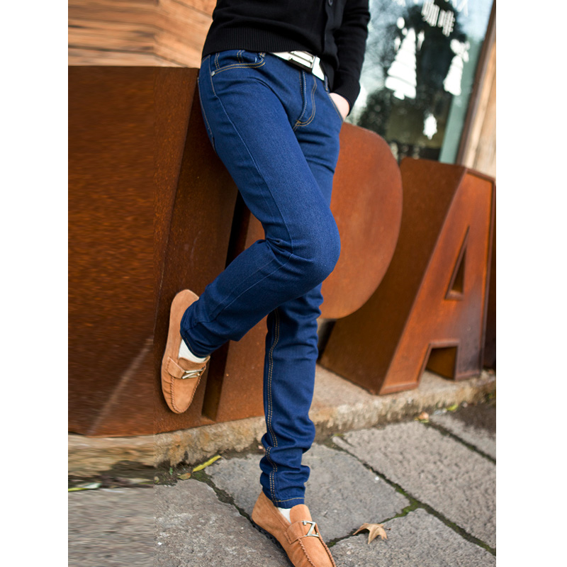 mens jeans 2014 new promotion Autumn spring summer all match skinny jeans men elastic trousers jeans Blue(China (Mainland))