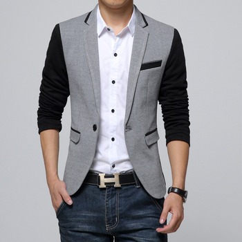 New Slim Fit Casual jacket Cotton Men Blazer Jacket Single Button Gray Mens Suit Jacket 2015 Autumn Patchwork Coat Male Suite