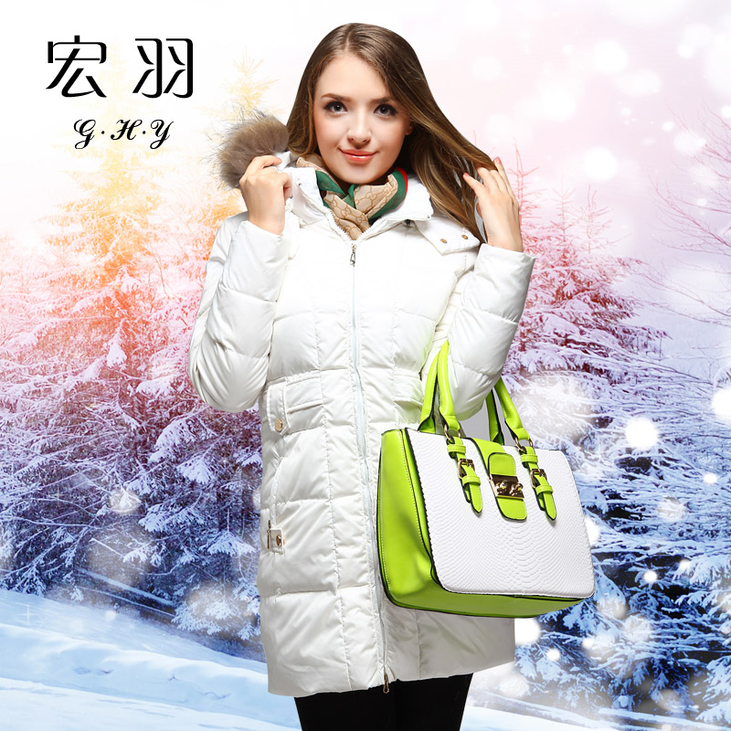 female coat white duck raccoon fur detachable cap belt slim waist warm - Diosa store
