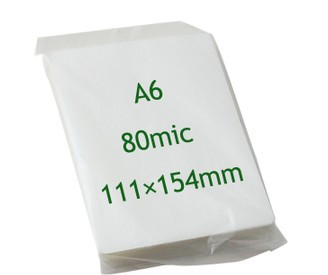 A6 laminating film photo film plastic film shell-lac paper 80mic thick 100 pcs /pack free shipping(China (Mainland))