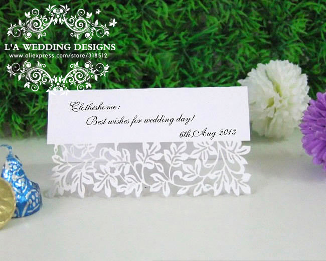 2014 personalized flower laser cut wedding place cards for Personalized wedding place cards