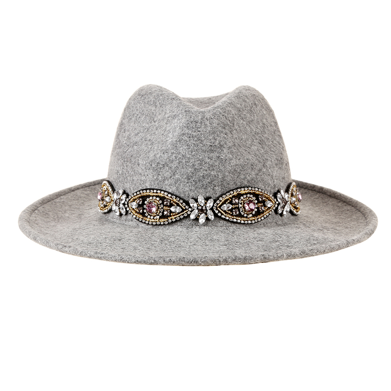 New Designed Vintage Headband Wool Grey Fedora Hats Bohemian Rhinestone Felt Hat for Women Jewelry Jazz Caps [HUL181](China (Mainland))