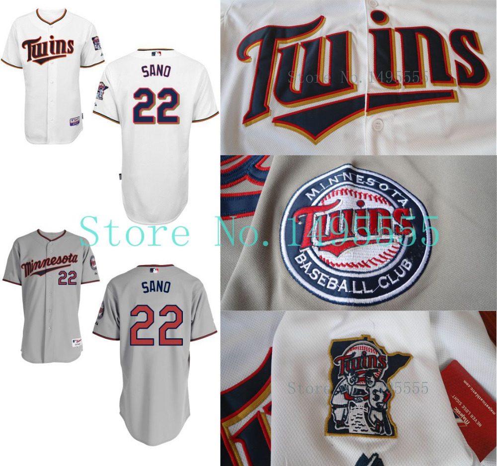 Minnesota Twins #22 Miguel Sano Baseball Jerseys Authentic Embroidery stitched onfield Home Color Top Quality Free Shipping(China (Mainland))