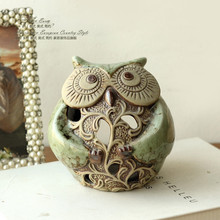 European rural ceramic owl candlestick furnishing articles home decoration christmas gift Free shipping (China (Mainland))
