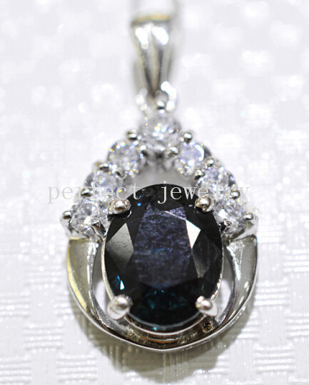 Sapphire necklace pendant Natural real sapphire charm pendants 925 sterling silver women girls #15042403