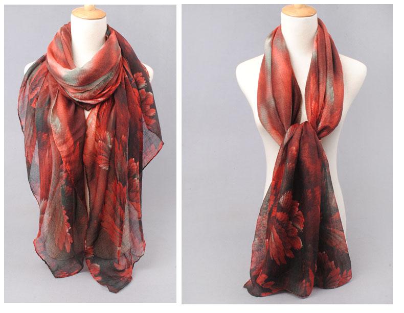Bufandas Scarf 2016 New shawl Ink Painting Chiffon Scarf  Women Warm winter scarf Air Conditioning Room Oversized Shawl