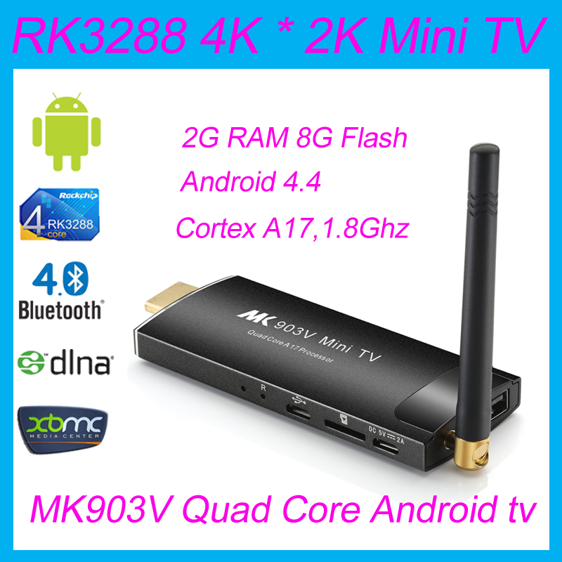 Smart PC Classic Mini Android TV MK903V 1.8GHz RK3288 QuadCore 2G / 8G Ultra HD 4K HDMI WiFi Google tv stick Dongle Media Player(China (Mainland))