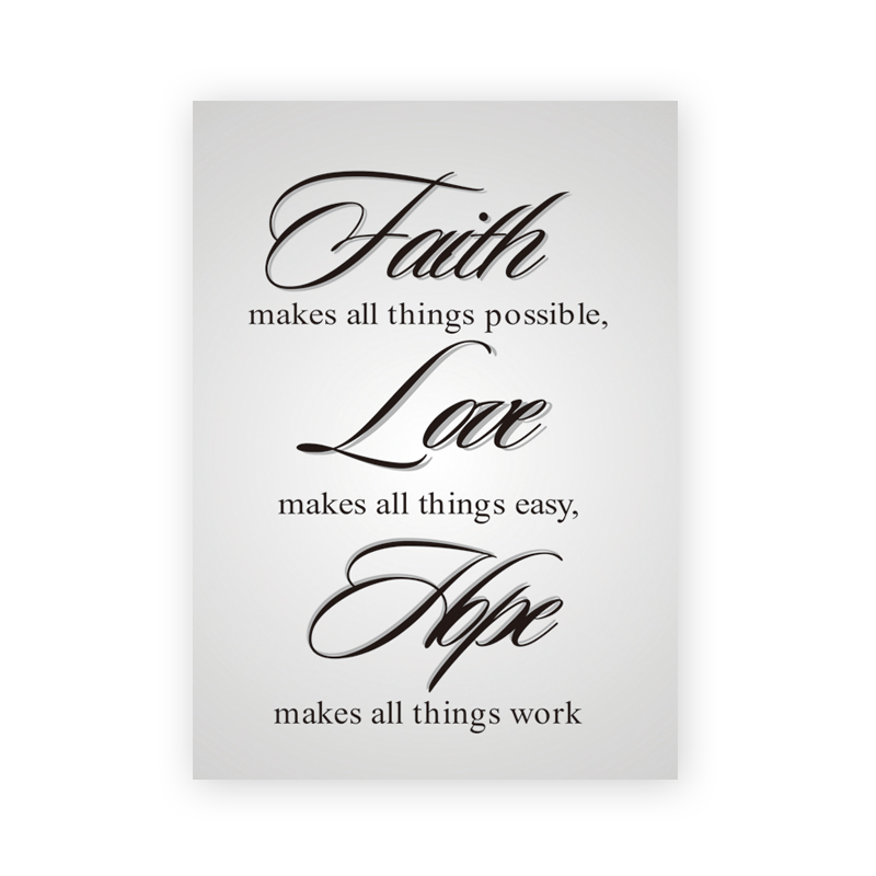 Faith Love Hope Make Thing Possible Easy Work A4 Canvas Art Print Poster Living Room Quote Wall Picture Office Cafe Home Decor(China (Mainland))