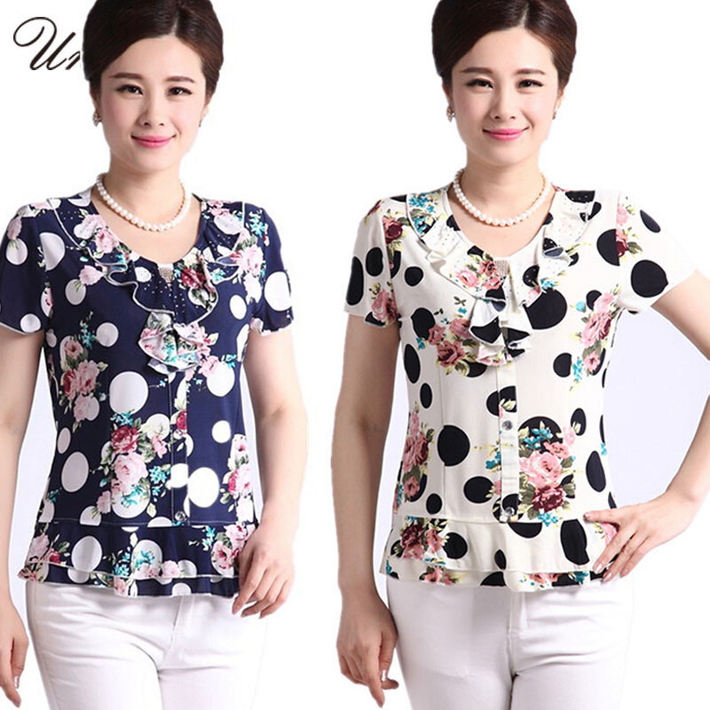 Summer Style Middle Aged Mother Clothing Fashion Print Casual Women Blouses 5XL Plus Size Shirt Cheap Tops China Blusa Feminina(China (Mainland))