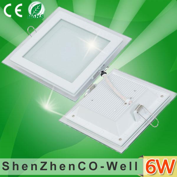 Square led panel light glass 6W 12W 15W ceiling