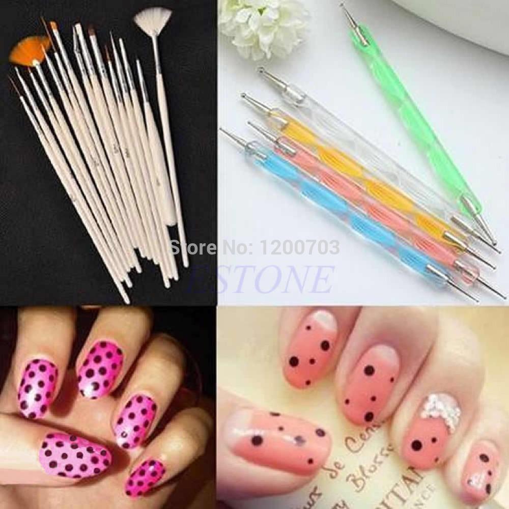 New 20pcs Nail Art Design Brushes Set Dotting Painting Drawing Polish Pen Tools free shipping(China (Mainland))