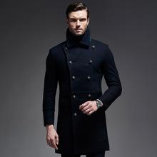 2016 Winter New Long Men Peacoat Coat Turn Down Collar Black Dark Blue Colors Winter Wool Coat Men(China (Mainland))